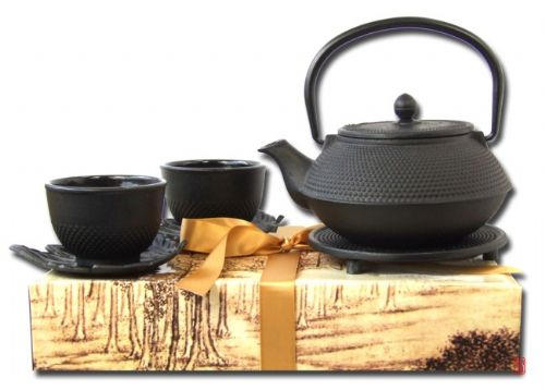 Gift box cast iron Tetsubin hobnail black teapot 0.8L trivet and 2 Cups with leaf saucers